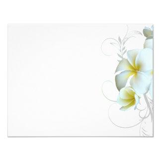 Plain White Plumeria Flourish Invitation Paper