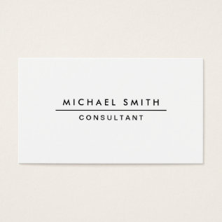 Plain White Professional Elegant Modern Simple Business Card at Zazzle