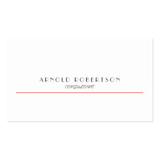 Plain White Red Trendy Professional Business Card