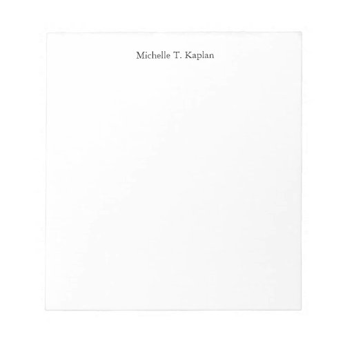 Plain White Simple Professional Classic Minimalist Notepad
