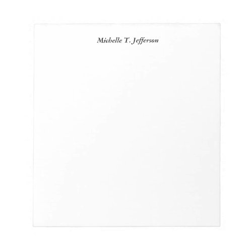 Plain White Simple Professional Classical Minimal Notepad