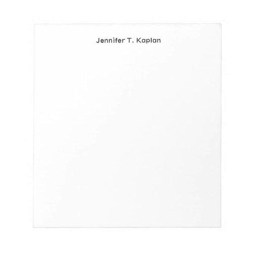Plain White Simple Professional Modern Minimalist Notepad