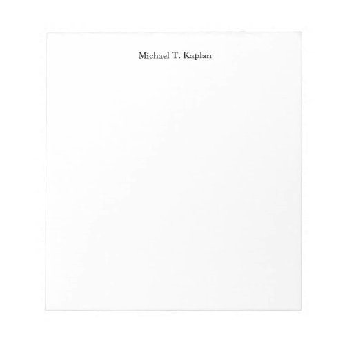 Plain White Simple Professional Your Name Edit Notepad