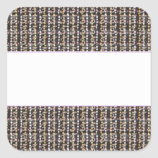 Plain White Strip on Om Mantra Holy Chant Pattern Square Sticker