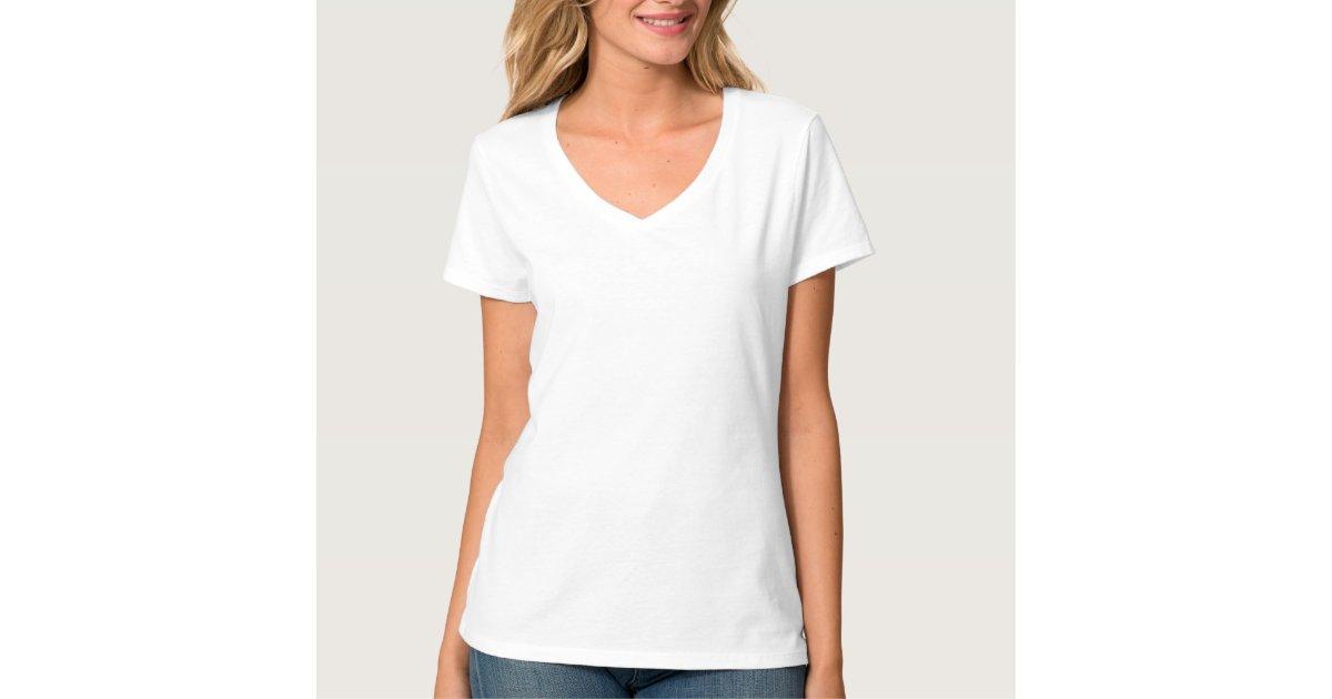 Plain white t-shirt for women, ladies v-neck nano | Zazzle
