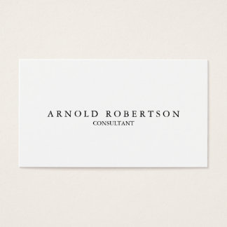 Plain White Trendy Professional Business Card