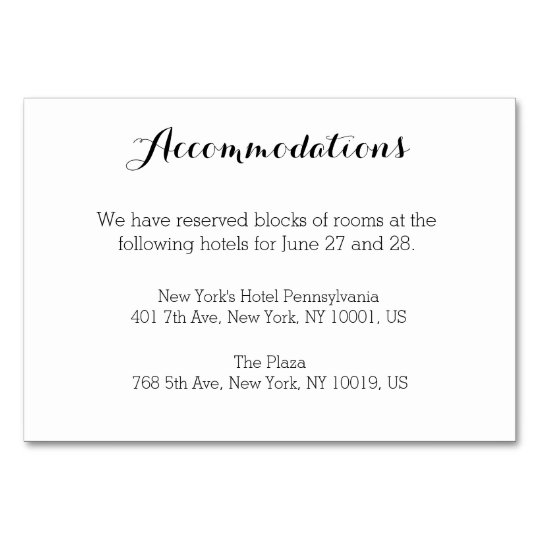 Plain White Wedding Accommodation Cards