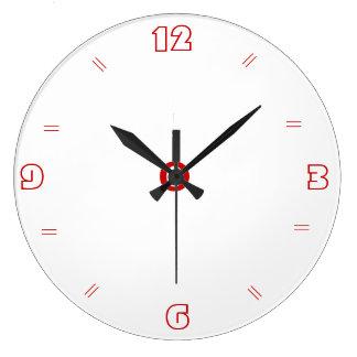 Plain White with Red > Plain Kitchen Clocks