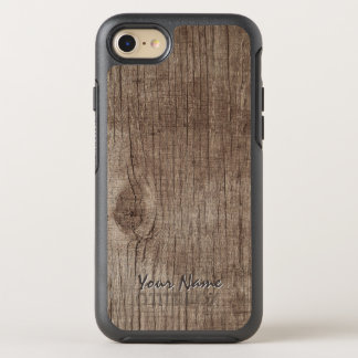Plain Wood Texture with Name OtterBox Symmetry iPhone 7 Case