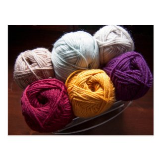 Plain Yarn Wool Knitting Crochet Maker Postcard