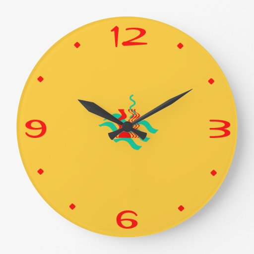 Plain Yellow and Red >Kitchen Clocks