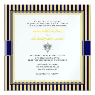 Plain yellow+navy blue stripes wedding invitations