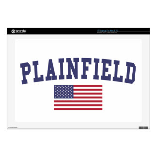 """Plainfield IL US Flag Decal For 17"""" Laptop"""