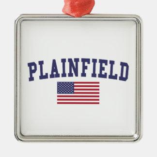 Plainfield IL US Flag Metal Ornament