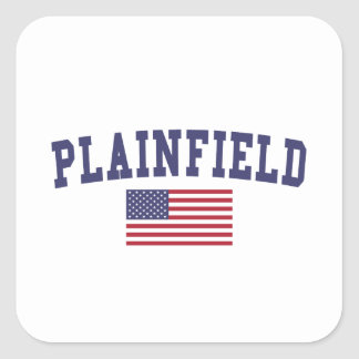 Plainfield IL US Flag Square Sticker