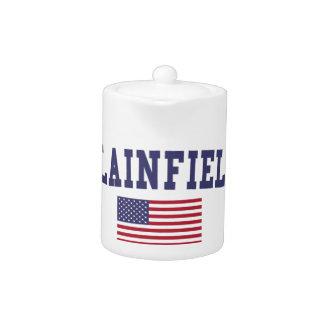 Plainfield IL US Flag Teapot