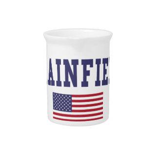 Plainfield NJ US Flag Beverage Pitcher
