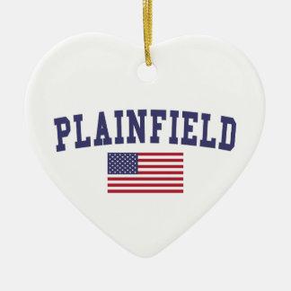 Plainfield NJ US Flag Ceramic Ornament