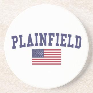 Plainfield NJ US Flag Drink Coaster