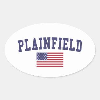 Plainfield NJ US Flag Oval Sticker