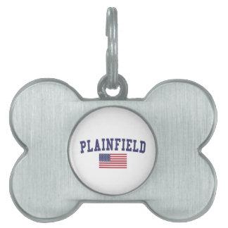 Plainfield NJ US Flag Pet Name Tag