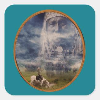 Plains Native American Brave's dreams Square Sticker