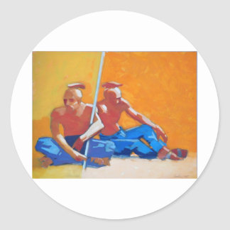 Plains Peoples-oil on paper 20x27 Classic Round Sticker