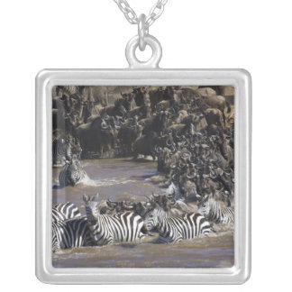 Plains Zebra (Equus quagga) and Blue Wildebeest Silver Plated Necklace