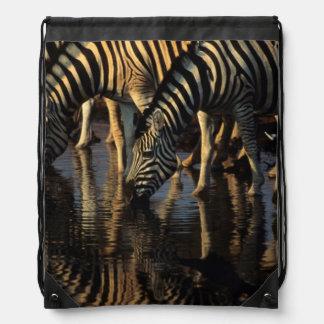 Plains Zebras (Equus Quagga) Herd Drinking Drawstring Bag