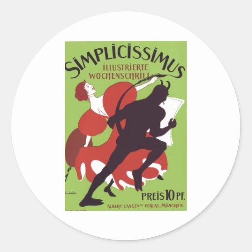 Plakat Heine - Simplicissimus 1896 Classic Round Sticker