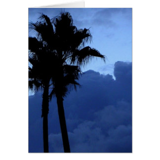Plam Trees At Sunrise Card