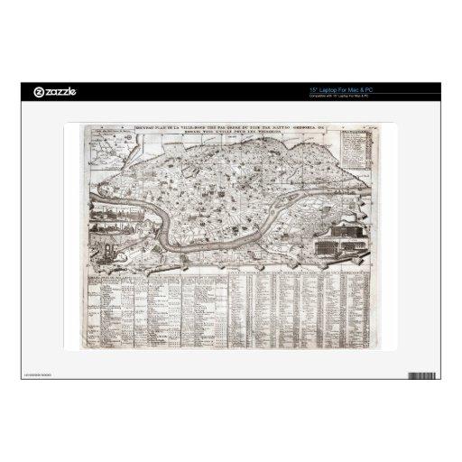 Plan 1721 de Chatelain o mapa de Roma Italia Geogr Skins Para 38,1cm Portátil
