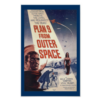 Plan 9 del arte del cartel de película del vintage poster