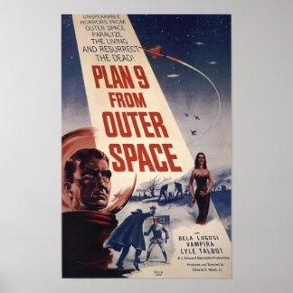 Plan 9 del cartel de película del vintage del espa poster