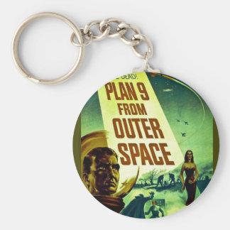 Plan 9 del espacio exterior llavero redondo tipo pin