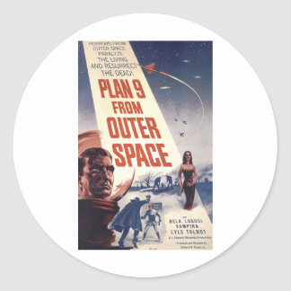 Plan 9 From Outer Space Movie Poster Classic Round Sticker