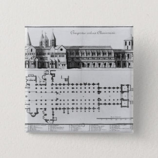 Plan and elevation of Cluny Abbey Button