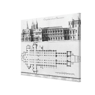 Plan and elevation of Cluny Abbey Canvas Print