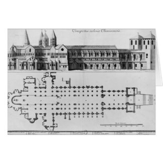 Plan and elevation of Cluny Abbey Card