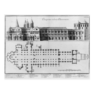 Plan and elevation of Cluny Abbey Postcard