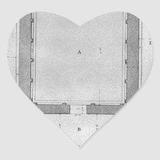 Plan and elevation rear of the Temple of the Sibyl Heart Sticker