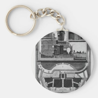 Plan and vertical sections of the castle Giovanni Keychain