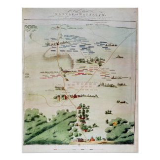 Plan and view of the Battle of Waterloo Poster