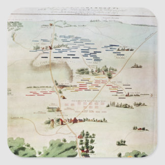 Plan and view of the Battle of Waterloo Square Sticker