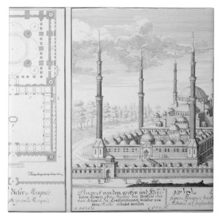 Plan and View of the Blue Mosque (1609-16), built Tile