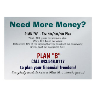 Plan B Sizzle Card Large Business Card