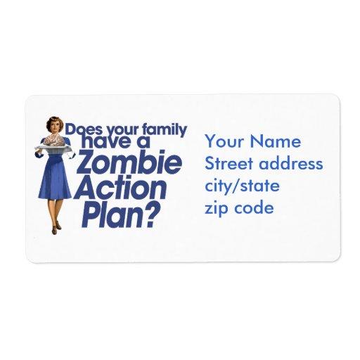 Plan de actuación del zombi etiqueta de envío