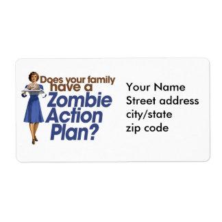 Plan de actuación del zombi etiquetas de envío