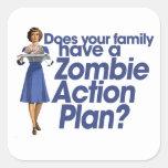 Plan de actuación del zombi pegatina cuadradas personalizada