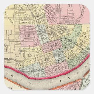 Plan de Cincinnati y de la vecindad Pegatina Cuadradas Personalizadas